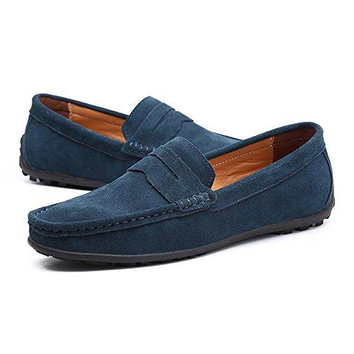Holgazanes Que Zapatos conducen Ocasionales Planos de Múltiple Cuero Color de de Hombres los los Darkgreen qq1TY