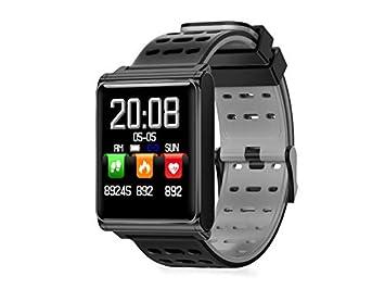 CQSMOO Relojes Inteligentes Pulsera Bluetooth con Reloj Inteligente de Monitor de Ritmo cardíaco para Mujeres Hombres niños by (Color : Black+Grey): ...