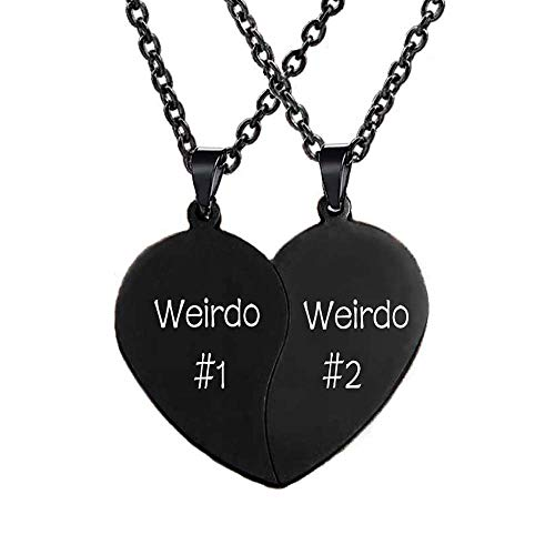 MJartoria Best Friend Necklaces BFF Necklaces for 2-Valentines Day Gift Split Heart Weirdo 1 Weirdo 2 Best Friends Forever Pendant Friendship Set (A-Weirdo 1 Weirdo 2-Black)