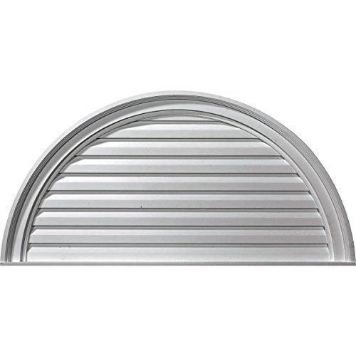 (Ekena Millwork GVHR36D 36-Inch W x 18-Inch H x 2 5/8-Inch P Half Round Gable Vent Louver, Decorative)