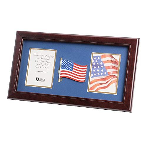 Allied Products American Flag Medallion 4-Inch by 6-Inch Double Picture Frame