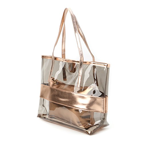 Gold Handbag Shopping Transparent Beach Shoulder Bags Women Champagne Clear Dabixx Bag Tote Jelly 7qOTFwyx