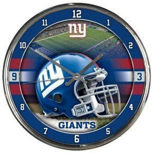 New York Giants Round Chrome Wall Clock - Licensed NFL Football Merchandise from Sports Collectibles