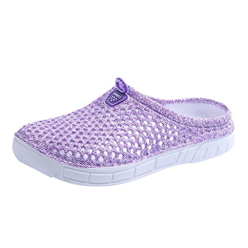 Women Clogs Garden Shoes Lightweight Walking Sandals Breathable Sport Water Shoes Summer Pool Beach Slippers (7, Purple)