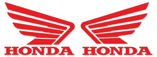 Honda Wings Logo Stickers/Decals Pair Red 5.5'