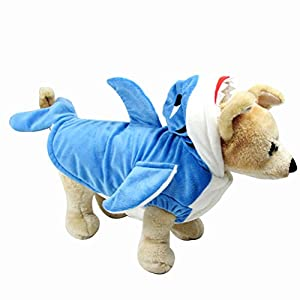 NACOCO Dog Shark Costume Cute Pet Clothes Halloween Holiday Coat Hoodie for Cats and Dogs (XS)