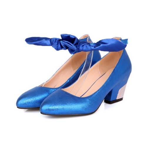 AmoonyFashion Womens Closed-Toe Pointed-Toe Kitten-Heels Pumps-Shoes With Buckle Blue eCxdVZ0