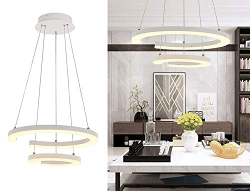 (Modern LED Foyer Pendant Light Contemporary Adjustable Chandelier 2 Rings Acrylic Chic Hanging Pendant Lights Fixture for Kitchen Island Living Dining Room Bedroom Warm White 3000K by Royal Pearl )
