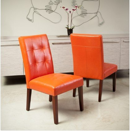 Contemporary Beautiful Cambridge Tufted Bonded-leather Orange Dining Chair (Set of 2) It's Add Comfort and Style to Any Room