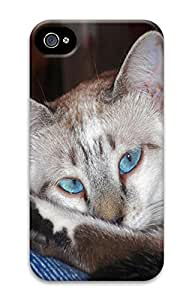iPhone 4 4S Case Beautiful Blue Eyes Animal 3D Custom iPhone 4 4S Case Cover