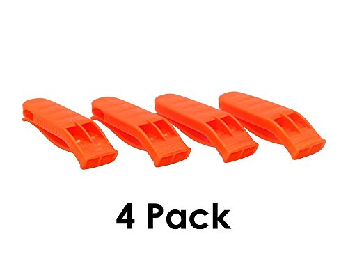 Safety Whistle (4 Pack) High Visibility Orange Boating Camping Hiking Hunting Emergency Survival