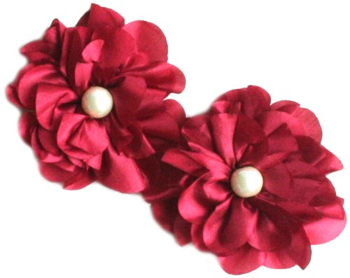 (Maya Road TK2545 Satin Scallop Edge Blooms for Crafting, Crimson)
