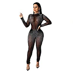 Rhinestone See Through Black_6 Mesh One Piece Jumpsuit
