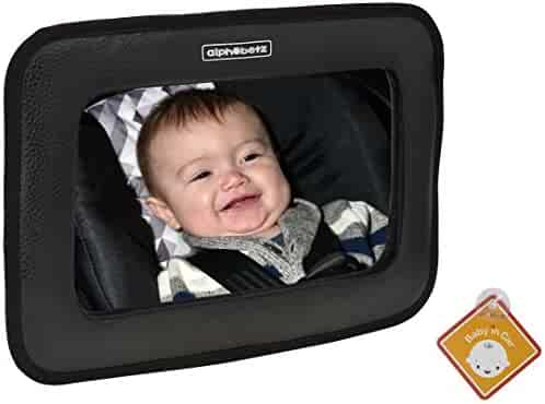 Alphabetz Large PU Leather Baby Backseat Car Mirror, Black