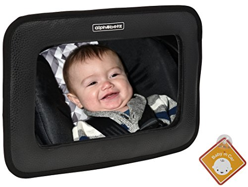Alphabetz Large PU Leather Baby Backseat Car Mirror, Black