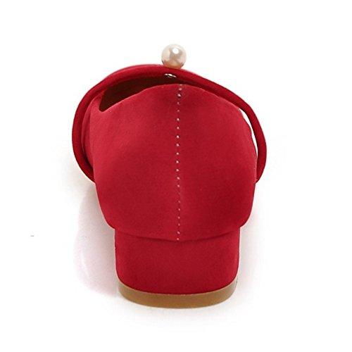 COOLCEPT Mujer Simple sin Cordones Bombas Zapatos Tacon Ancho Bajo Cerrado Zapatos con Perla Rojo