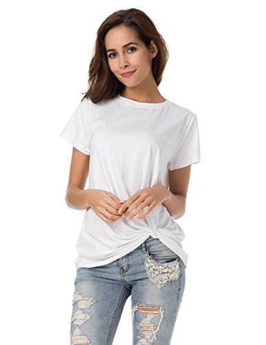 (MRLZ Women Soft Cotton Short Sleeve Tee Casual Plain T-Shirt Tops, White, Small, US6)