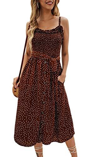 - Angashion Women's Dresses - Summer Boho Floral Spaghetti Strap Button Down Belt Swing A line Midi Dress with Pockets 014 Coffee XL