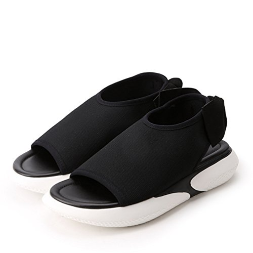 élastique Tissu Antidérapantes Plateforme Talon Sandales Chaussures Femme de Sports Noir Loisir 0w4xqTf8Z