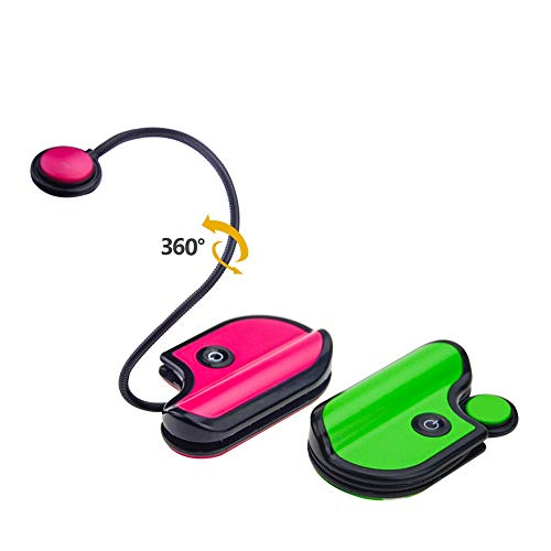 BIGLIGHT Book Light for Reading in Bed, Small Book Light for Kids, LED Reading Lamp, Battery Operated Clip Light, Reading Light for Books in Bed at Night, 2 Adjustable Brightness, 2 Pack