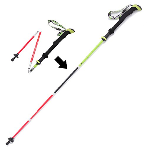 VINQLIQ High Carbon Fiber 5-Sections Expert Trekking Pole with Extended EVA Handle, Folding, Collapsible, Adjustable, Ultralight, Multipurpose for Hiking Climbing Walking Snowshoeing