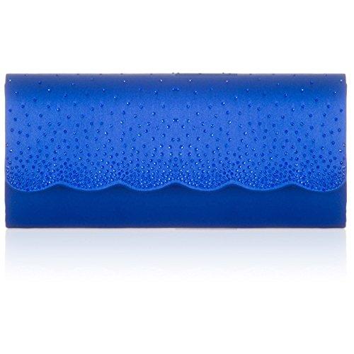 Xardi London - Cartera de mano de Satén para mujer azul real