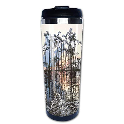 (Portable Stainless Steel Insulated Coffee Travel Cup Mug,Amazonian Laguna Cuyabeno Ecuadorleak-proof flip cover keeps hot or cold 13.6 oz (400 ml) )