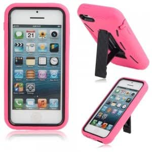 Plastic + Silicone Protective Case with Holder for iPhone 5C Rose