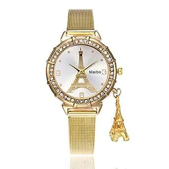 Bestow Reloj de Pulsera de Cuarzo de Acero Inoxidable MEIBO Fashion Women Eiffel Tower Torre Eiffel Net de Hierro: Amazon.es: Ropa y accesorios