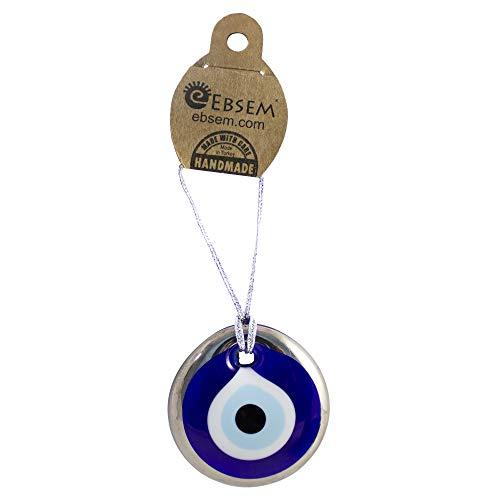 Silver Gilt Handmade Turkish Greek Evil Eye Glass Charm Decorative Ornament Charm for Good Luck, Success and Protection (2 inch) - Eyeglass Charm Evil