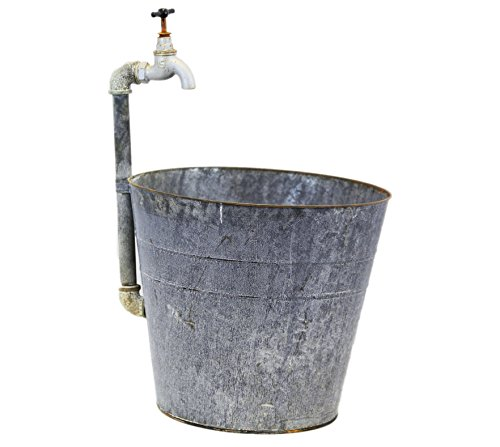 Gray Zinc Planter Fountain With Working Spout by Heart of America