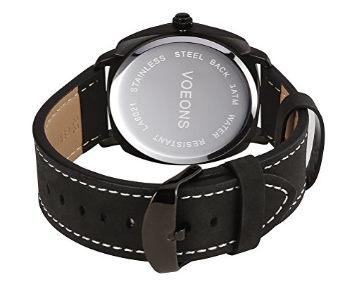 Voeons Men's Analog Auto Date Quartz Watch Genuine Black Leather Strap Waterproof Casual Watch Photo #4