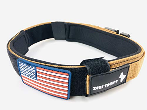 ZeusTacK9 Tactical Dog Collar K9 Pet Dogs – 1.5 Inch Wide Heavy Duty Military Style Dog Collars Metal Buckle Quick…