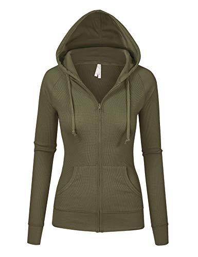 Womens Olive Color Thermal Zip Up Casual Hoodie Jacket (8035_Olive_M) - Juniors Hoodie Zip