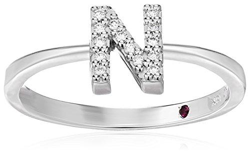 Roberto Coin Women's 001634AWLRXN Diamond Initial Ring, White, Size 7 ()