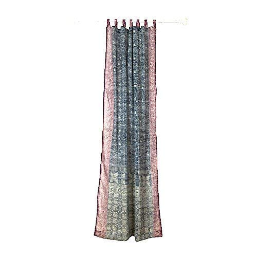 Colorful Window Treatment Draperies Indian Sari panel 108 96 84 inch for bedroom living room dining room kids yoga studio canopy boho tent FREE GIFT Silk bag GREY Curtain, Charcoal Gray and Plum