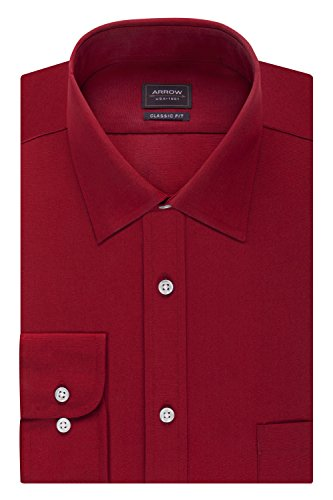 Arrow Men's Poplin Regular Fit Solid Spread Collar Dress Shirt, Red, 17-17.5