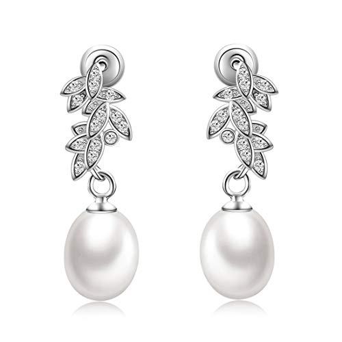 CAT EYE JEWELS Freshwater Pearl Teardrop Bridal Dangle Earrings 925 Sterling Silver with Cubic Zirconia ()