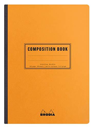 Rhodia Classic Composition Book, A5, Square, 80 Sheets - Orange