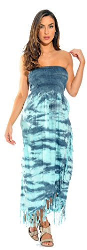 Riviera Sun 21617-GT-XL Summer Dresses/Sundresses for Women Grey/Turquoise