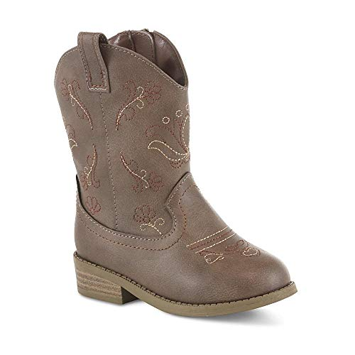 Toddler Cowgirl Boots - Piper Western Cowgirl Boots for Toddler Girls (6, Brown)