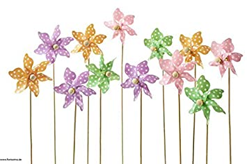 UV-Best/ändig /& Hochwertige Qualit/ät Blumenmuster /Ø 9cm // H/öhe: 27cm Deko Plastikwindr/äder // Kunststoffwindrad zur Dekoration // 12er Set Bunte Mischung Dekorative /& Mini Windr/äder Kunststoff // Plastik am Holzstab