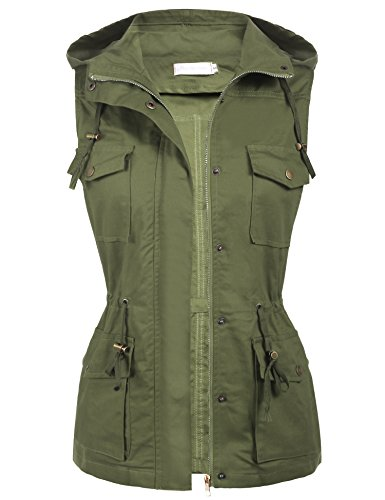 [Macr  and Steve Womens Lightweight Sleeveless Military Anorak Safari Utility Vest W/ Hoodie Army Green Large] (Army Outfits For Women)