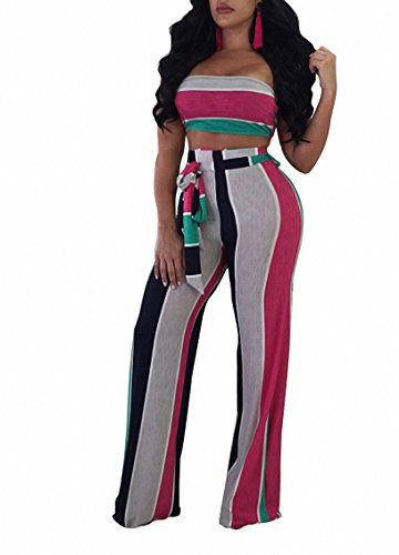 Holiday 2 Piece Outfit - Cutedi Womens Sexy Rainbow Stripe Print Bodycon Strapless 2 Piece Outfits Jumpsuits Tube Crop Top and Wide Leg Long Pants Set Rosy Green L