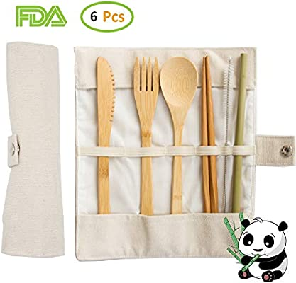 Sugege Juego de Cubiertos de bambú portátil para Acampar 2 Juego de Utensilios de bambú Juego de Cubiertos de bambú con Estuche de Viaje Incluye Cuchillo, Tenedor, Cuchara, Palillos y Pajita: Amazon.es: