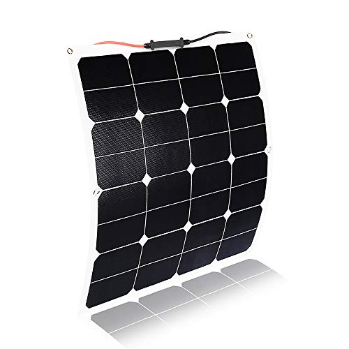 KINGSOLAR Flexible Solar Panel 50 Watt 18 Volt, ETFE Surface Not PET Surface(Most of Others) Ultra Lightweight, Ultra Thin, Up to 260 Degree Arc, for RV, Boats, Roofs, Uneven Surfaces ()