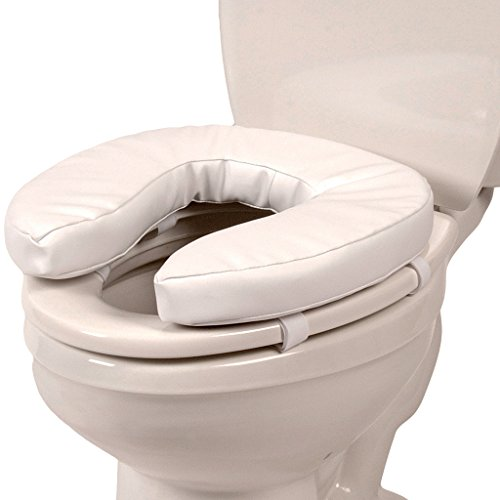 "PCP Raised Toilet Seat Cushion, 2"" High Padded Comfort Support, Universal Fit, Portable with Removable Fastening Straps"