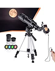 Refractive Professional Astronomical Telescope, HD high Magnification, Dual-use, Suitable for Adults or Children Beginners, Portable and Equipped with Tripod, and Photo Adapter