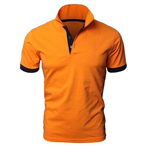 KASAAS Polo Shirts for Men Solid Contrast Trim Tops Lapel Short Sleeve O-Neck Casual Fashion Slim Fit Tees Shirt(X-Large,Orange) ()