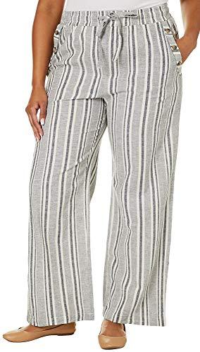 Derek Heart Juniors Plus Stripe Wide Leg Linen Pants 3X Grey/White/Blue